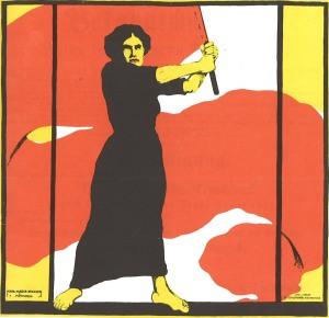"""Del av affisch från 1914 med parollen """"Fram med kvinnlig rösträtt""""."""