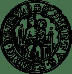 """Ås klosters sigill från 1377 med texten """"S'QVENTUS S'MARIE DE ASYLO""""."""